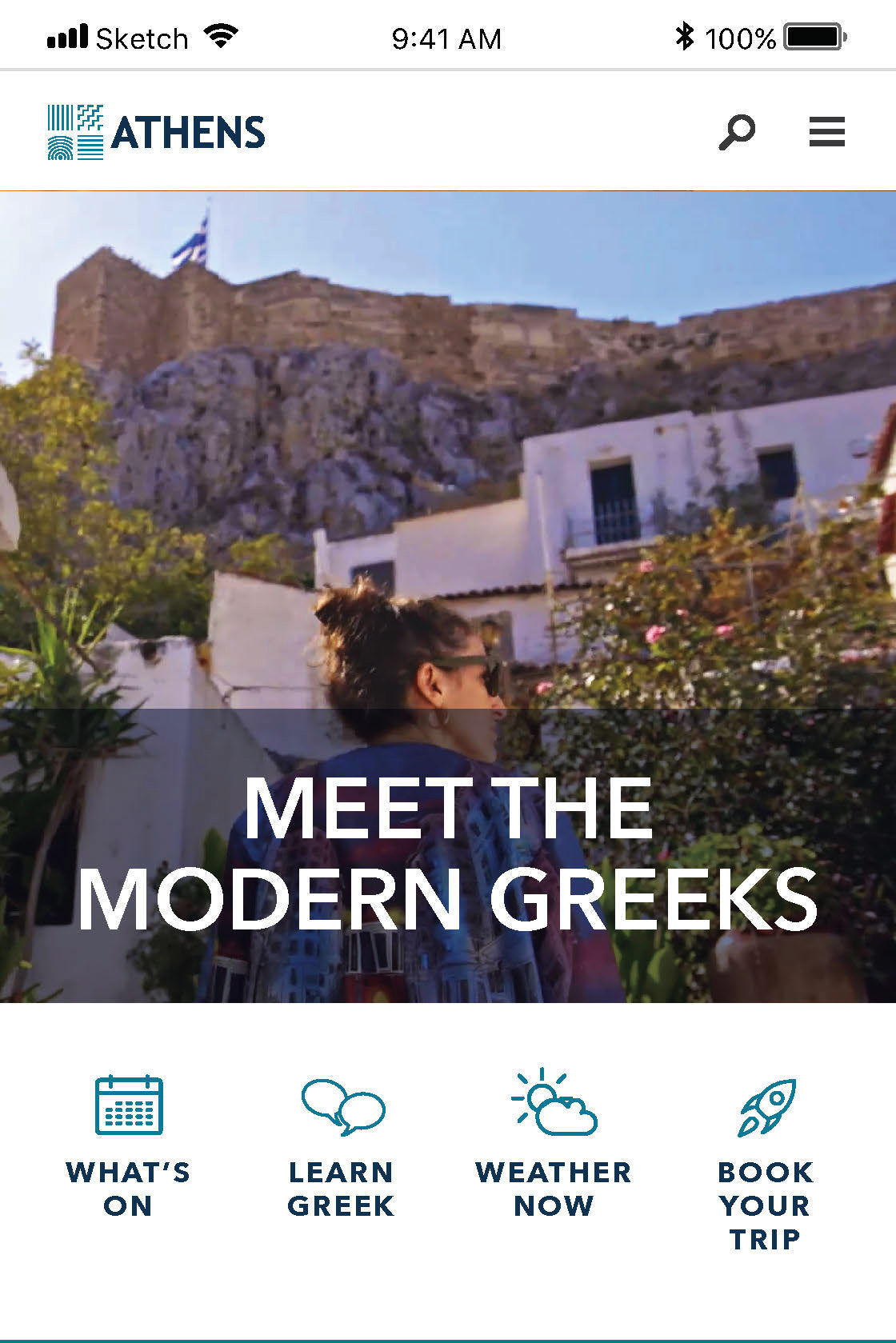 Section of the Athens mobile website.