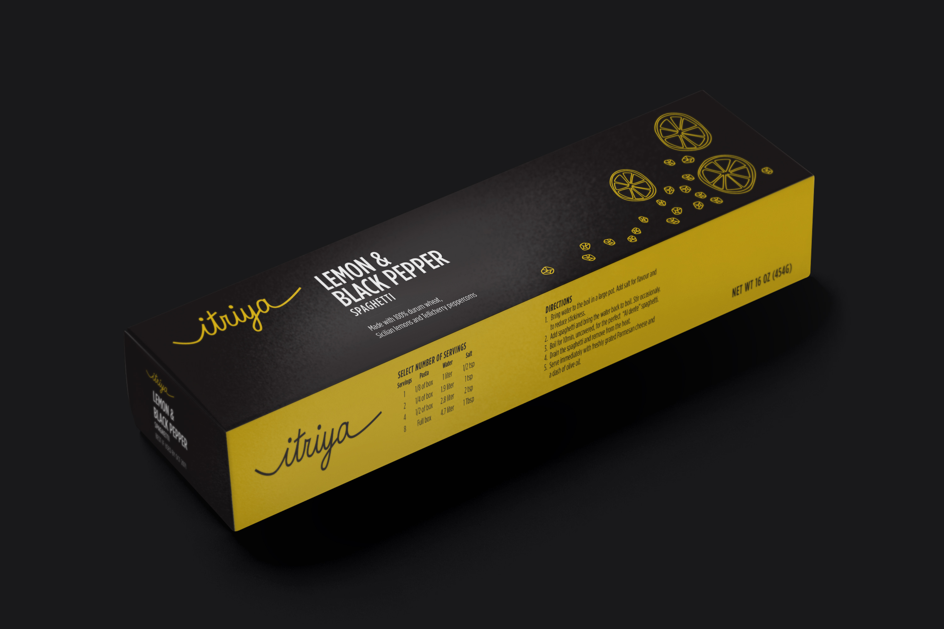 Packaging mockup for Itraya spaghetti.