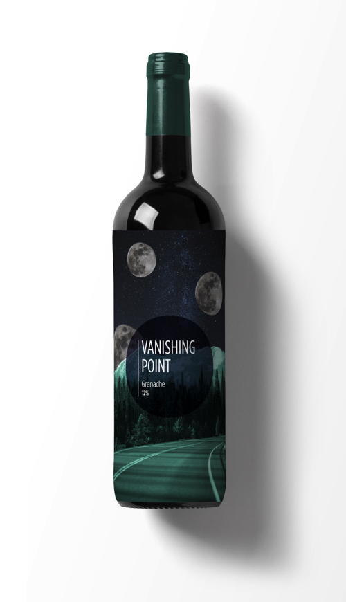 Label for a wine called Vanishing Point.